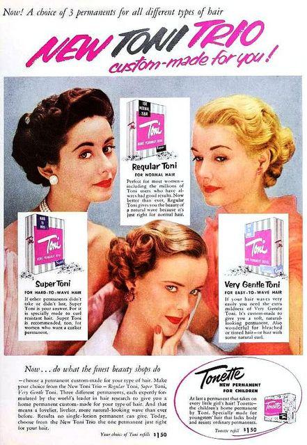 Toni Trio Home Permanent Wave Ad October 1952 Vintage