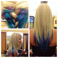 Blonde with Elumen color teal blue and purple on Long ...