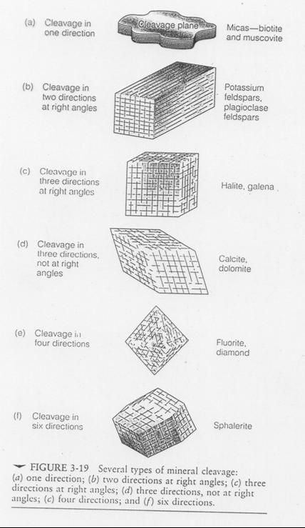 Types of mineral Cleavage and representative mineral types