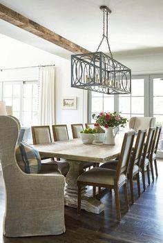 Rustic Cottage Dining Room Boast A Whitewashed Trestle