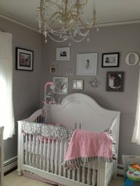 Pink grey white baby girls room