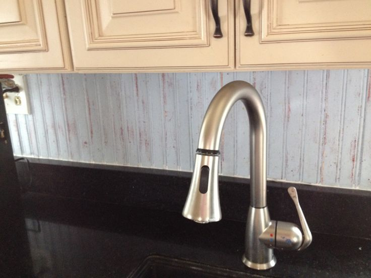 lowes lights for kitchen cabinet ideas distressed (light blue over red) wainscot backsplash ...