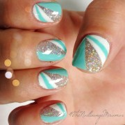 color block gel nail art