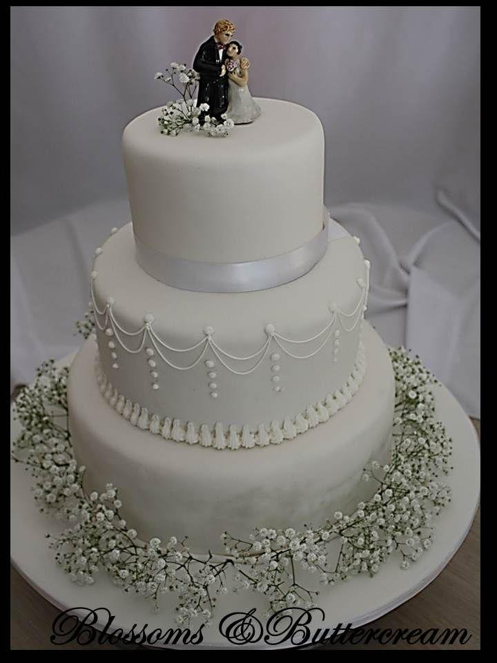 Three Tier Wedding Cake With Fresh Gypsophila Dream