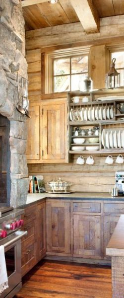 open rustic kitchen cabinets 25+ best ideas about Rustic Cabin Kitchens on Pinterest