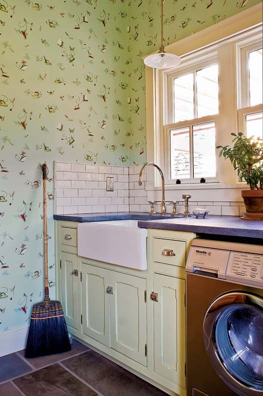 An Eco Friendly Farmhouse Laundry Rooms Pattern Wallpaper And Laundry