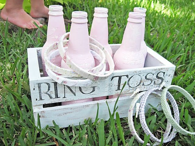 Make Your Own Old Fashioned Games… Make Them Pretty too! Ring Toss Game.  Would also work for an end of year field day.
