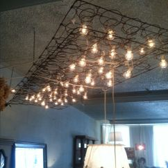 Hanging Kitchen Lights Over Island Cabinets Kings Light Fixture Made From Mattress Springs And String ...