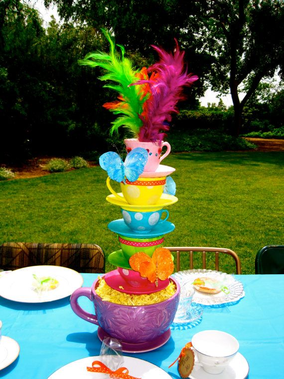 mad hatter centerpiece  Whimsical Alice in WonderlandMad Hatter tea party tea cup centerpiece
