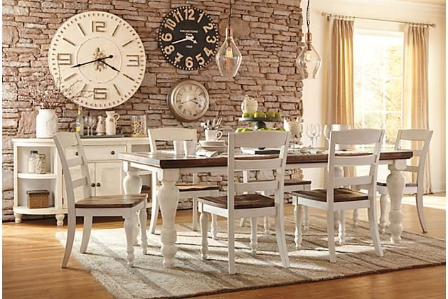 Farmhouse table  Twotone Marsilona Dining Room Table