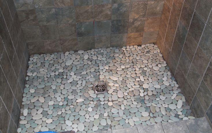 Pebble Shower Floor  House  Pinterest  Pebble floor Shower tiles and The guest