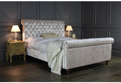 GB98 5 King Size Beige Crushed Velvet Upholstered