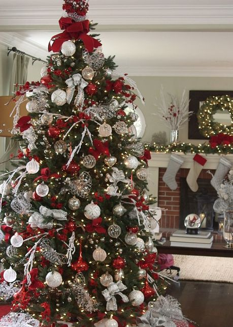 balsam hills red white and sparkle silver christmas treechristmas