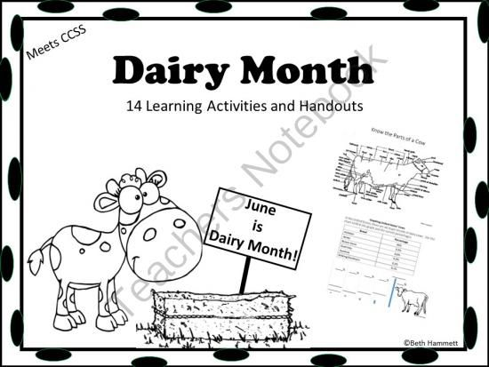 Dairy Month (June) Activities and Handouts from Educator