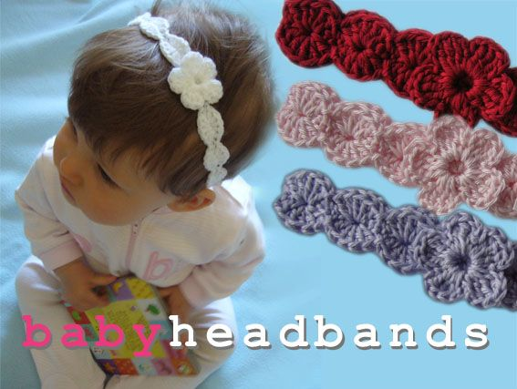 Baby Crochet Headband with Flower. See, these i would make and sell. They arent huge on the kids head