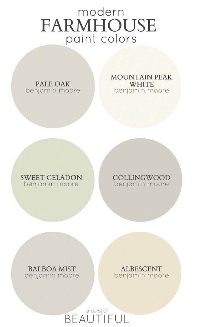 Modern Farmhouse Color Palette. Best paint colors for modern Farmhouse. Via A Burs