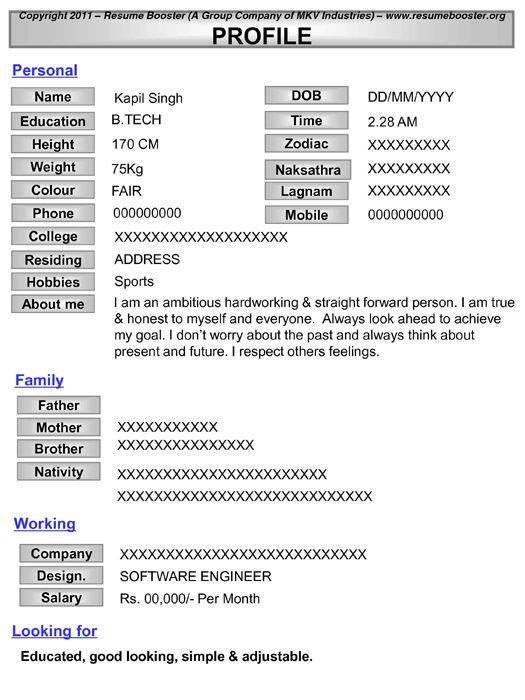 sample matrimonial profile