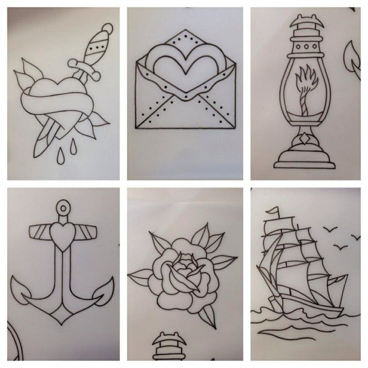 Simple Traditional Tattoo Drawings