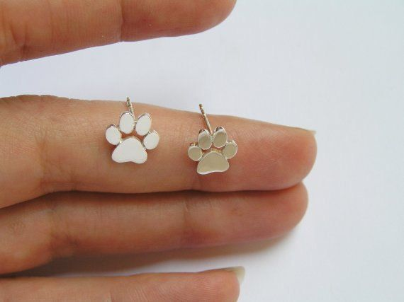 Paw Print Earrings – Silver