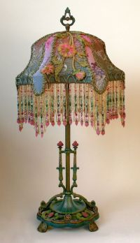 Victorian lamp and beaded lamp shade