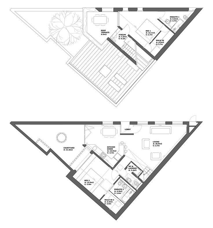 25 best images about Triangle House Plan on Pinterest