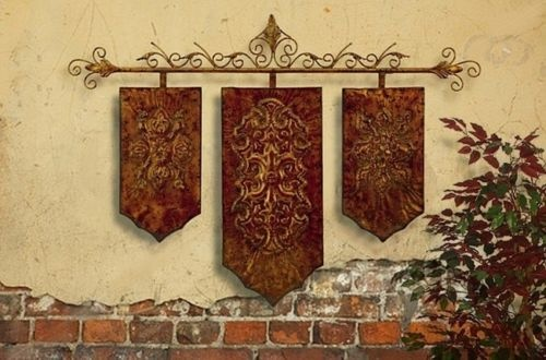 FRENCH TUSCAN Old World IRON WALL PLAQUE PANEL W/Rod