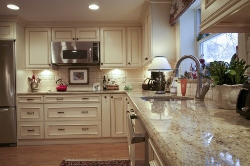 colonial cream granite backsplash  cabinet colorstyle  Whitaker House  Pinterest  Bingo
