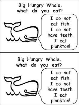 Big Hungry Whale Emergent Reader- Kindergarten- Ocean