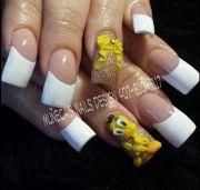 white tips yellow bow & tweety