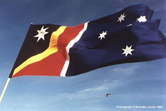 One of the proposed new Australian flag incorporating the Aboriginal flag and withdrawing the