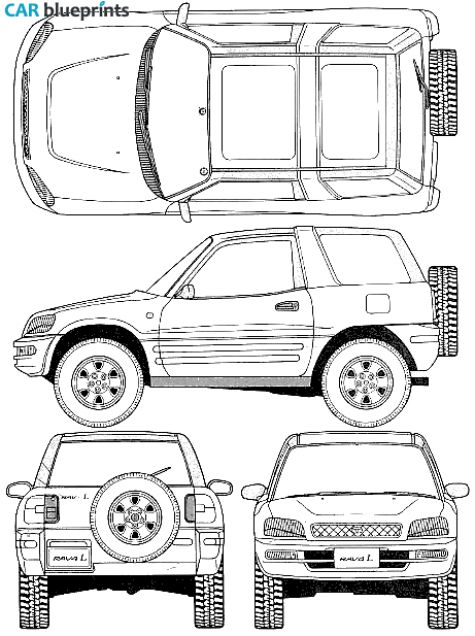 CAR blueprints / 1996 Toyota RAV4 I 3-door SUV blueprint