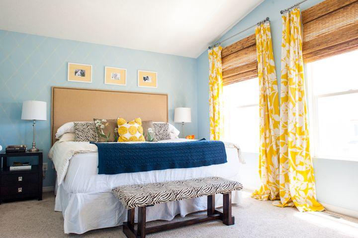 yellow and blue master bedroom