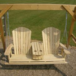 Wooden Porch Chairs Chair Steel Base With Wheels Jake's Amish Furniture - 5' Adirondack Swing Fold Down Cup Holder Open In The Middle ...