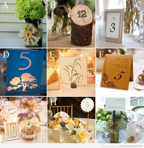 Ideas y tarjetas originales y bonitas para poner el número de la mesa boda: