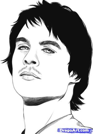 damon salvatore draw drawing step vampire diaries drawings dragoart steps tvd sketch visit sheets