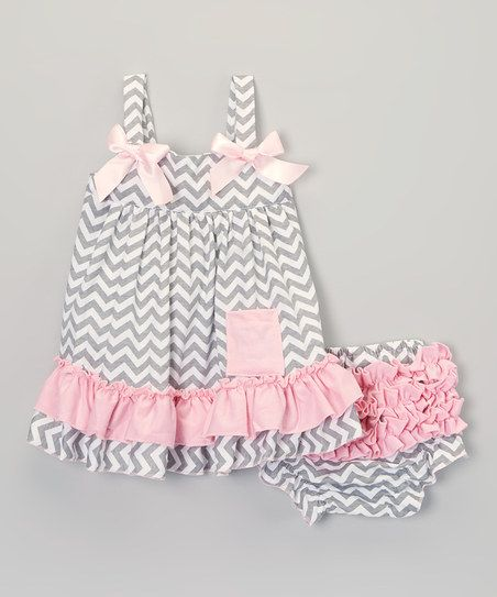 Gray & Pink Zigzag Swing Top & Diaper Cover – Infant