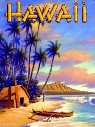 Hawaii Hawaiian Beach Oahu Diamond Head Vintage Travel