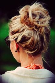 messy bun love casual days home