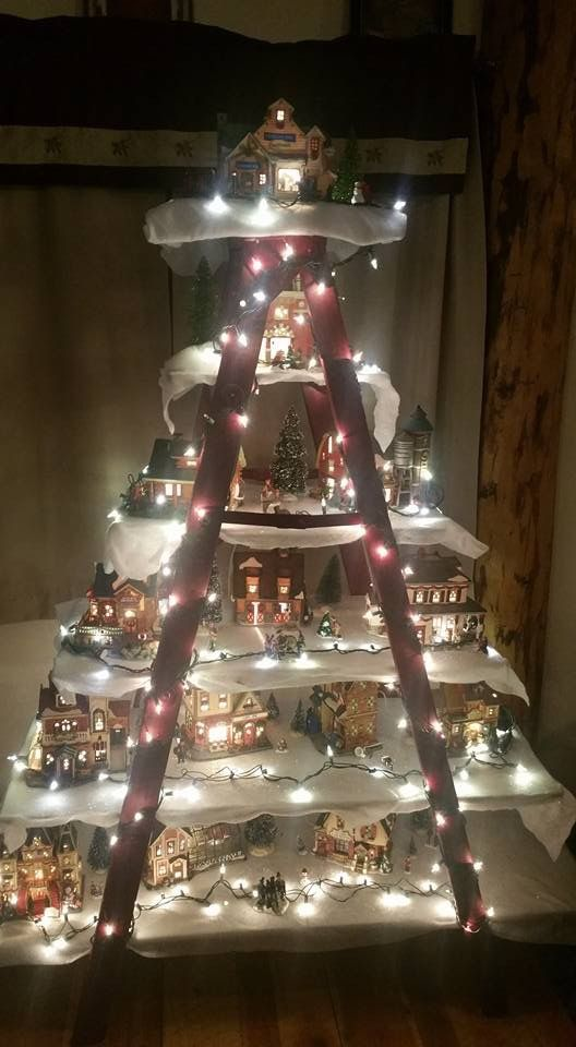 Love This Idea With A Ladder Christmas Decor And Winter