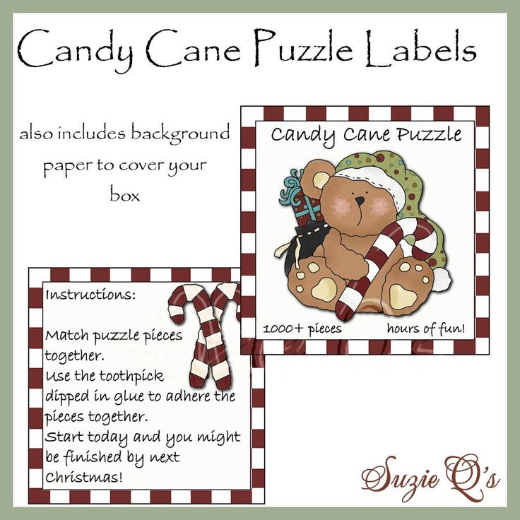 Candy Cane Puzzle Labels Digital Printable By