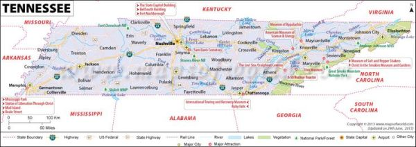 Tennessee map showing the major travel attractions
