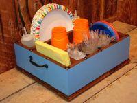 Light blue party decor tableware utensil holder caddy ...