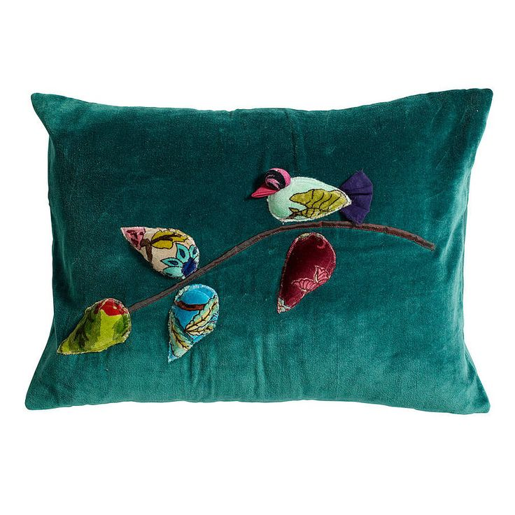 Bird Applique Cushion in Petrol BlueA sumptuous petroleum