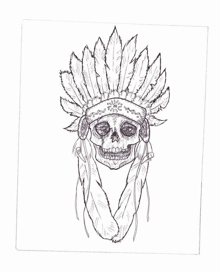Indian Headdress Skull by tbrown61.deviantart.com on