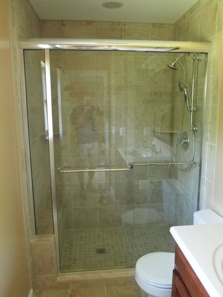 New tile shower with sliding glass door  Bathroom Renovations  Pinterest  Tile showers and