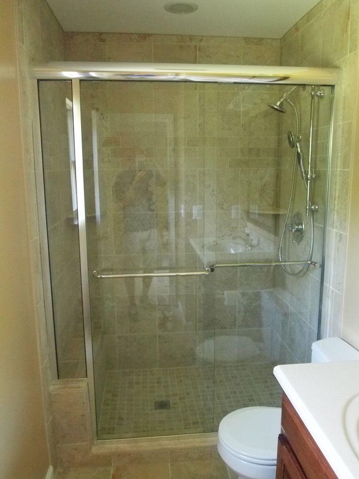 New tile shower with sliding glass door  Bathroom