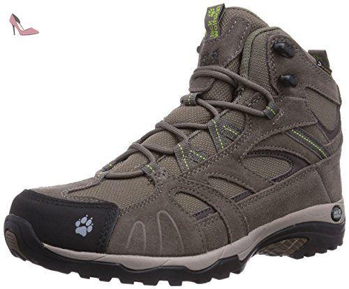 jack wolfskin vojo hike mid texapore chaussures de randonnee femme beige parrot green