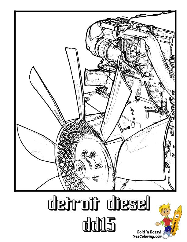 Truck Coloring Page Of A Detroit Diesel Truck Motor! You