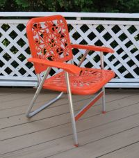 Reserved -Vintage Aluminum Folding Lawn Chair Orange Mid ...