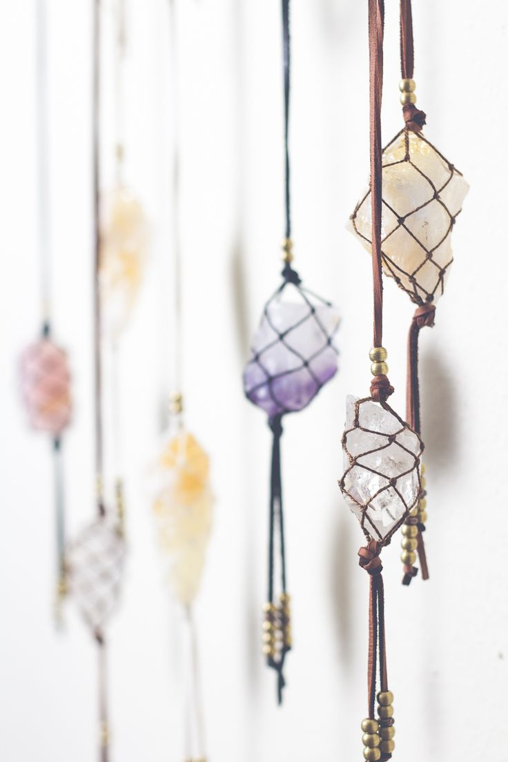 I want to hang beautiful Natural Rock Crystals like this of suede rope or string in a woven web above my altar or in front of the